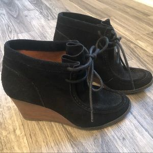 Lucky Brand black suede wedge bootie size 6